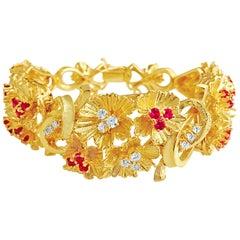 Womens 6.00 Carat Burma Ruby and Diamond Bracelet in Yellow Gold