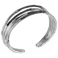 Women's Bamboo Silver Lava Narrow Flex Cuff with Black Sapphire