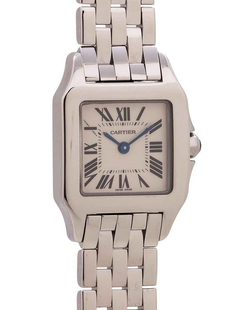 Women's Cartier Santos Demoiselle Stainless Steel, circa 2000s In Excellent Condition For Sale In West Hollywood, CA