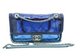 WOMENS DESIGNE Chanel Runway Transparent Flap bag Blue