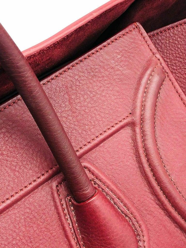 Womens Designer Celine Medium Phantom Luggage Tote - Burgundy In Good Condition For Sale In London, GB
