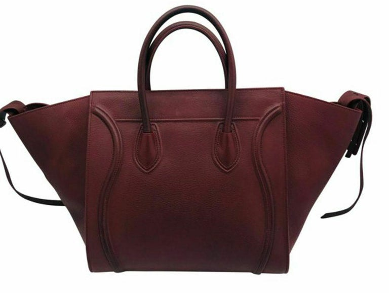Women's Womens Designer Celine Medium Phantom Luggage Tote - Burgundy For Sale