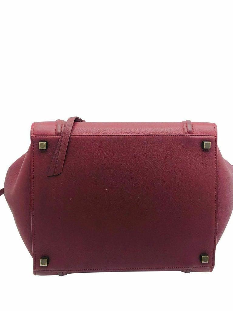 Womens Designer Celine Medium Phantom Luggage Tote - Burgundy For Sale 1