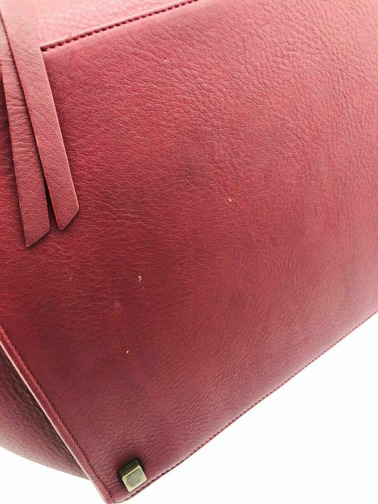 Womens Designer Celine Medium Phantom Luggage Tote - Burgundy For Sale 2