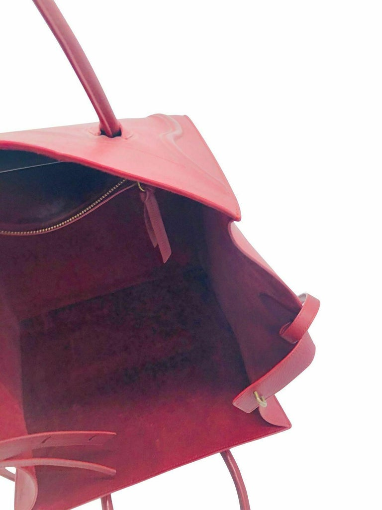 Womens Designer Celine Medium Phantom Luggage Tote - Burgundy For Sale 4