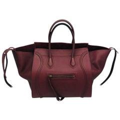 Womens Designer Celine Medium Phantom Luggage Tote - Burgundy