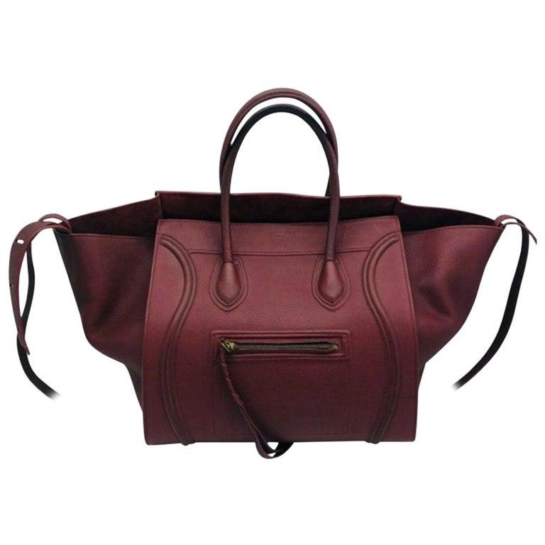Womens Designer Celine Medium Phantom Luggage Tote - Burgundy For Sale