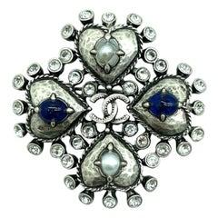 Womens Designer CHANEL 4 Heart Brooch