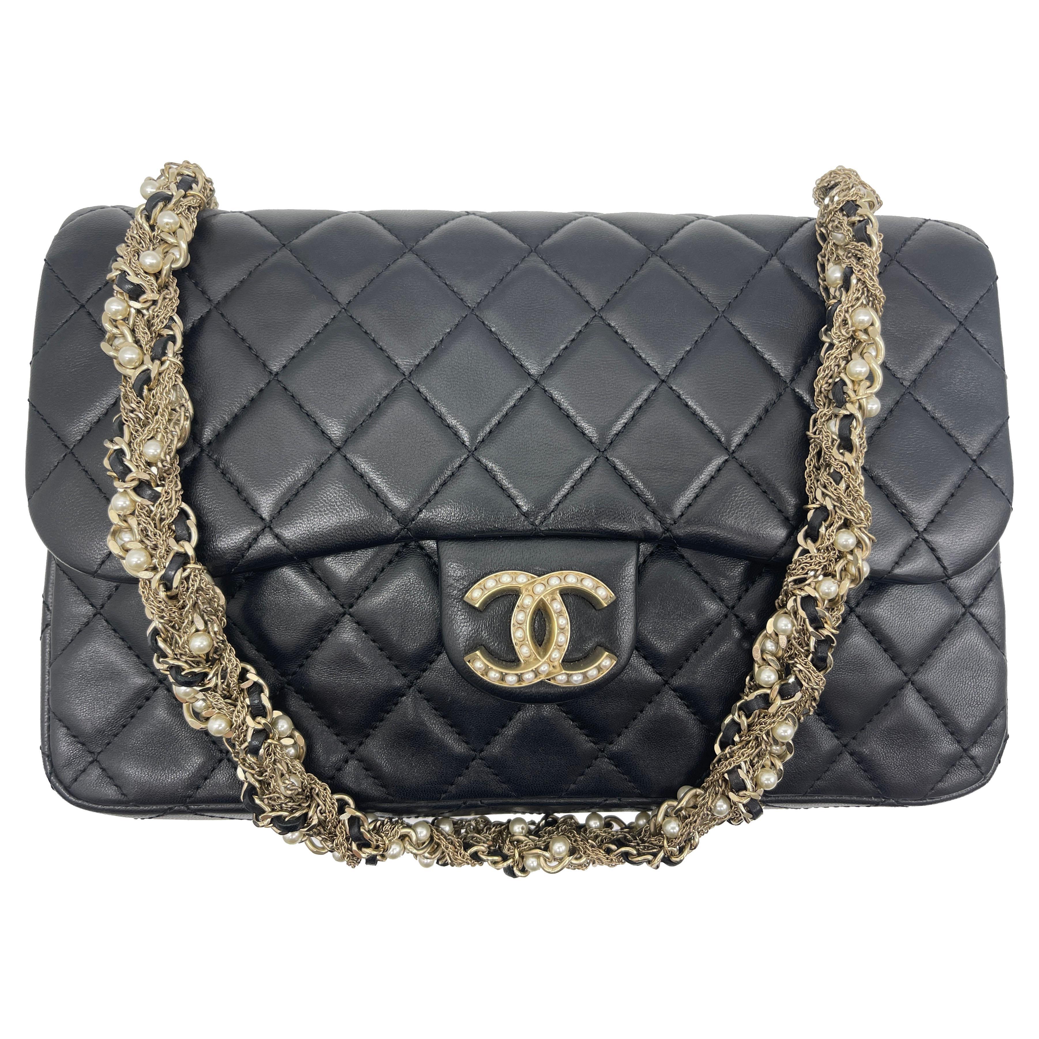 WOMENS DESIGNER Chanel black quilted lambskin medium westminster pearl flap bag