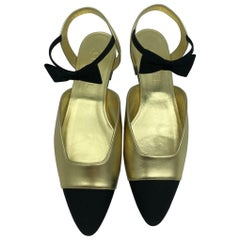Women's Designer Chanel Flat Ankle Bow Shoes