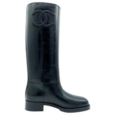 Womens Designer Chanel High Boots - Black