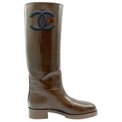 Womens Designer Chanel High Boots - Brown/Black
