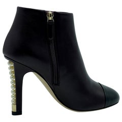Womens Designer Chanel Pearl Heeled Boots