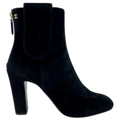 Womens Designer Chanel Suede Ankle Boots - Black