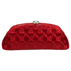 WOMENS DESIGNER Chanel Timeless Clutch Red Satin