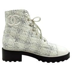 Womens Designer Chanel Tweed Boots - Cream