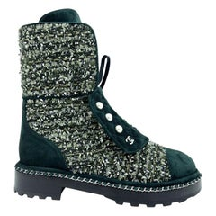 Womens Designer Chanel Tweed Boots - Green