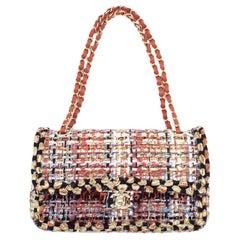 WOMENS DESIGNER Chanel Tweed Medium Double Flap Bag