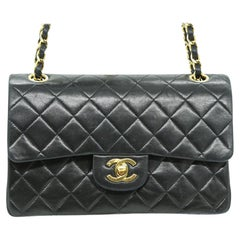 WOMENS DESIGNER Chanel Vintage Small Classic Flap black 24ct gold plated