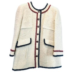 Womens Designer Chanel Wool Tweed Jacket - Size 46