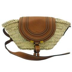 Womens Designer Chloe Marcie leather-trimmed straw shoulder bag
