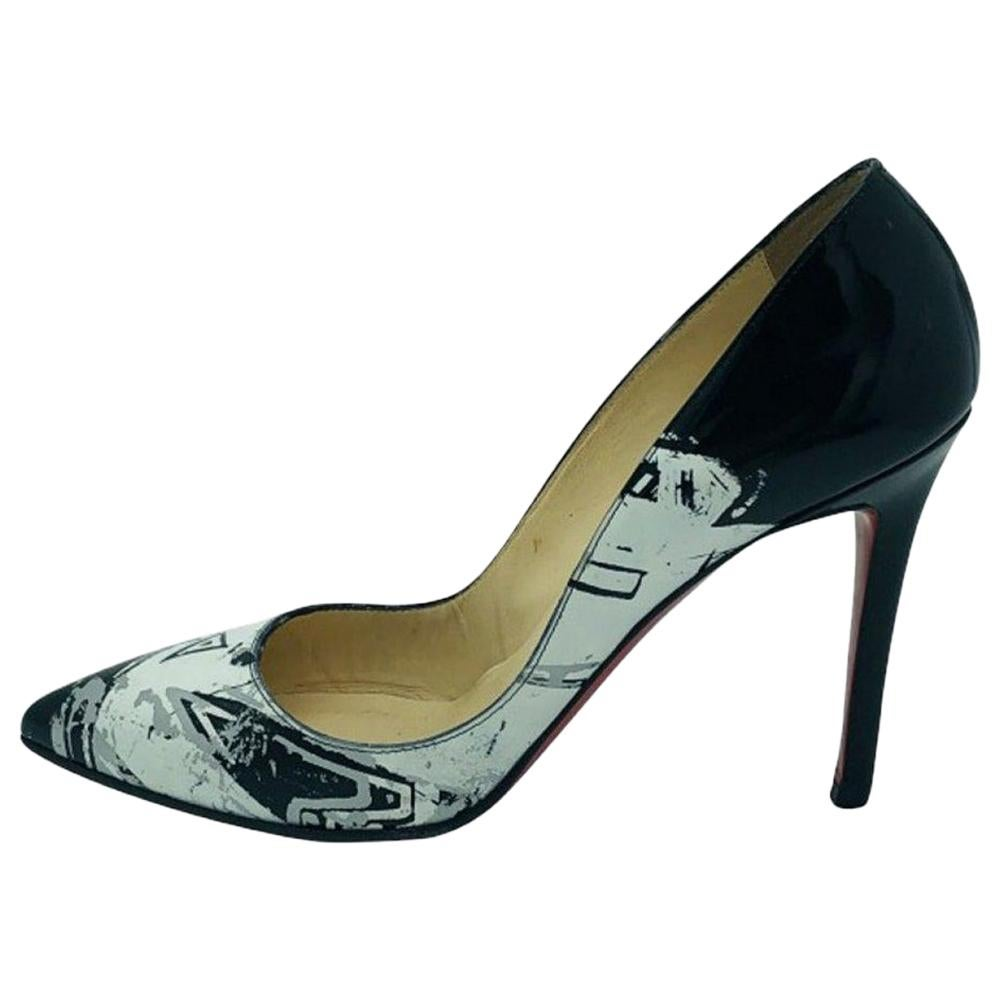 Womens Designer Christian Louboutin Patent Heeled Pumps Black/White - 37.5