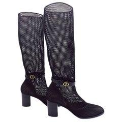 Womens Designer Dior Empreinte Mesh & Calfskin Heeled Boots