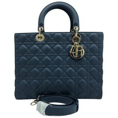 WOMENS DESIGNER Dior Large Lady Dior Bag Denim blue