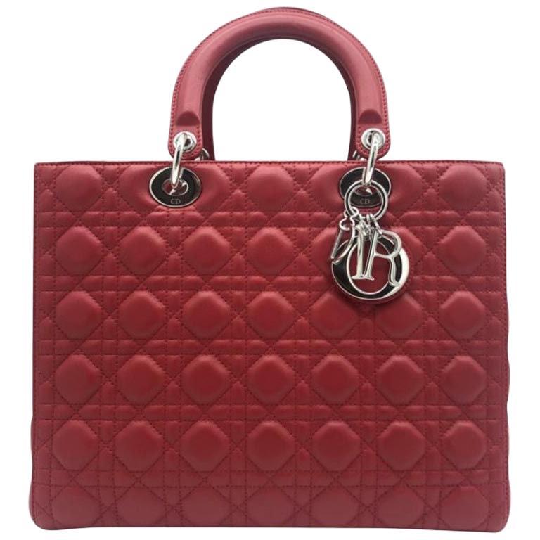 WOMENS DESIGNER Dior Large Lady Dior Bag Red