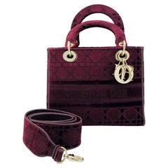 WOMENS DESIGNER Dior Medium Lady D-Lite Bag Burgundy Velvet
