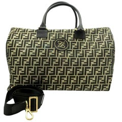 Womens Designer FENDI Black And Gold Mania Weekend Holdall