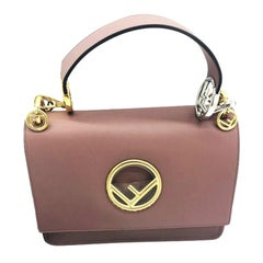 Womens Designer FENDI Kan I Logo Shoulder Bag - English Rose