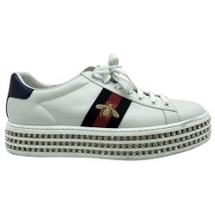 Womens Designer Gucci Ace Sneakers with Crystals - 37.5