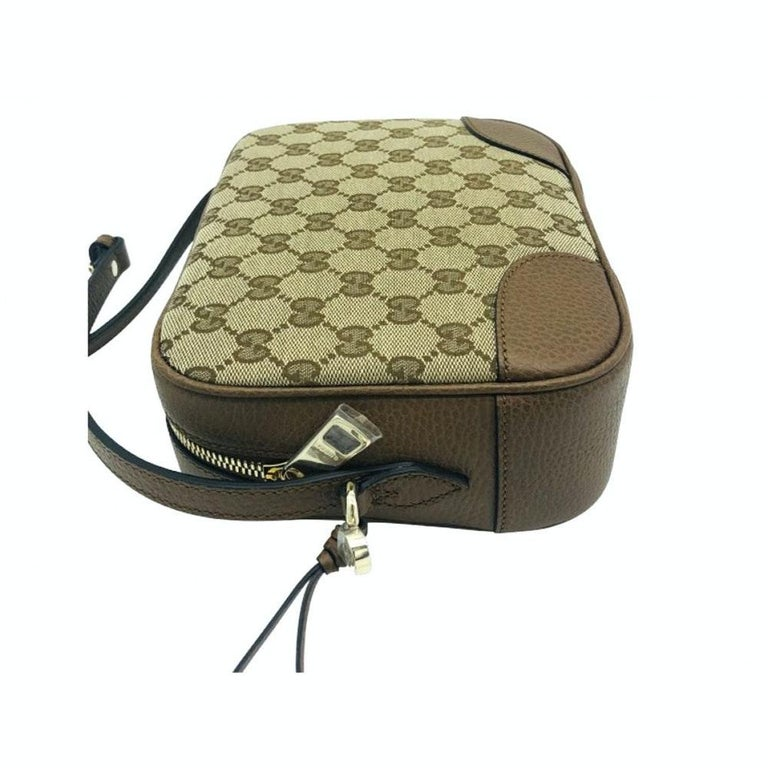 Gray Womens Designer Gucci Bree Original GG Canvas Messenger bag For Sale