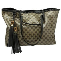 Womens Designer Gucci Crystal Canvas Tote