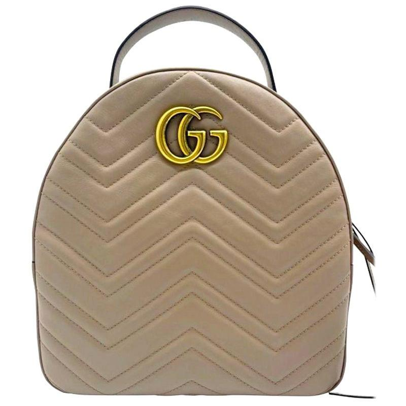 Womens Designer Gucci GG Marmont Backpack Beige