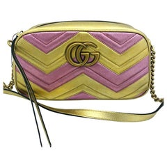 Womens Designer Gucci GG Marmont Bag Leather Pink/gold