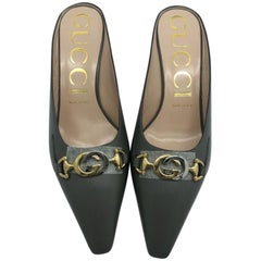 Womens Designer Gucci Grey GG Buckle Leather Mules