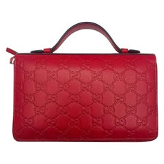 Womens Designer Gucci Guccissima Double Zip Travel Wallet/Bag