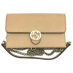 Womens Designer Gucci Interlocking GG Wallet on chain Crossbody Bag Beige