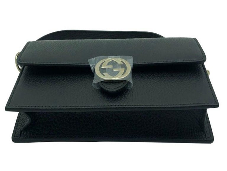 Women's Womens Designer Gucci Interlocking GG Wallet on chain Crossbody Bag Black