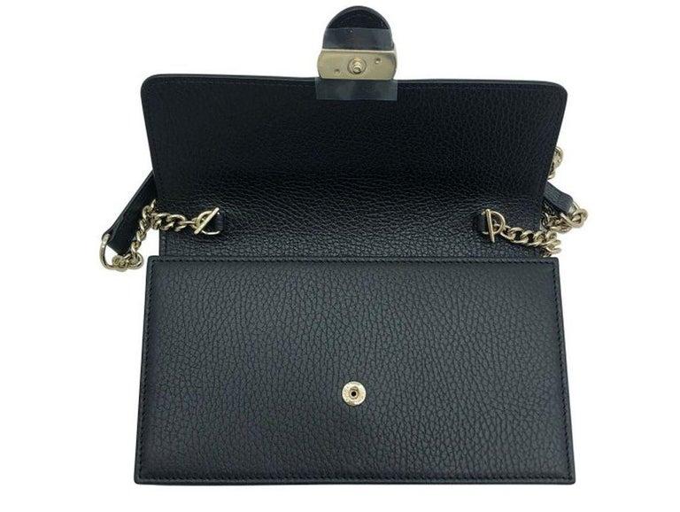 Womens Designer Gucci Interlocking GG Wallet on chain Crossbody Bag Black 1
