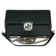 Womens Designer Gucci Interlocking GG Wallet on chain Crossbody Bag Black