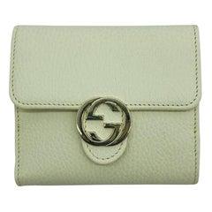 Womens Designer Gucci Interlocking GG Wallet Purse - Cream