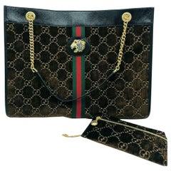 Womens Designer Gucci Large Rajah Tote - GG Mono - Brown Velvet