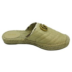 Womens Designer Gucci Pilar Elaphe-trimmed Raffia Espadrille Slippers Shoes - 39