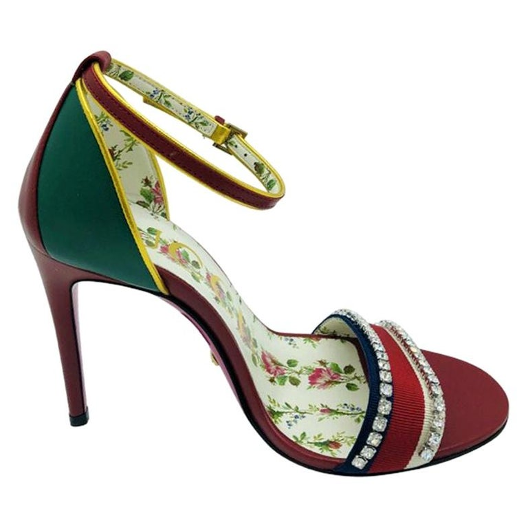 Womens Designer Gucci Web and Diamonte Heels sandals shoes - 35.5 For Sale