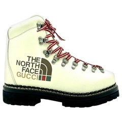 Womens Designer GUCCI X NORTH FACE Boots - Cream