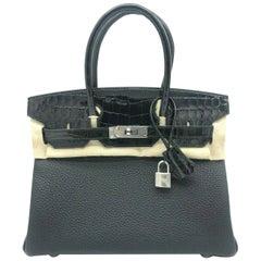 Womens Designer Hermes Birkin 30 Touch Black Togo/Crocodile Leather