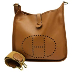Womens Designer Hermes Evelyne GM Bag- Gold